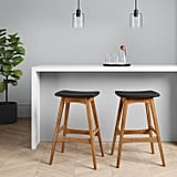 Domela Modern Saddle Barstool in Faux-Leather Brown