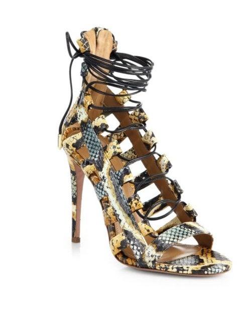 Aquazzura Amazon Snakeskin Cutout Sandals ($795)