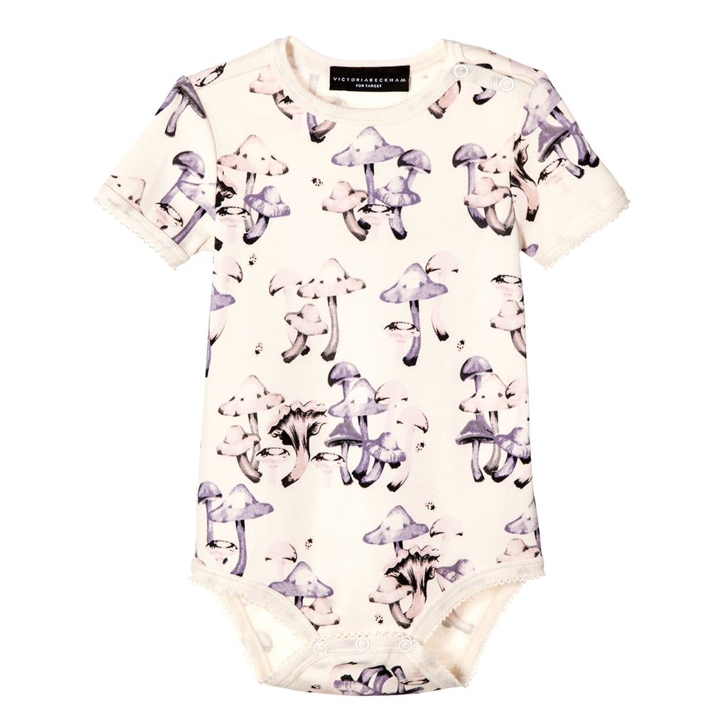 Baby Mushroom Print Short Sleeve Bodysuit   ($13)