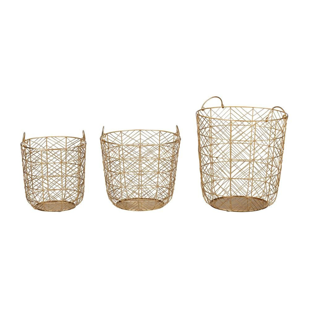 Home Decorators Collection Round Gold Metal Wire Decorative Basket