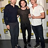 Game of Thrones costars Nikolaj Coster-Waldau, Kit Harington, and Pedro Pascal buddied up on the red carpet at HBO's event for their show on Friday.