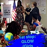 Michelle Obama posted a Snapchat from the GLOW camp in Monrovia, Liberia, on Monday.