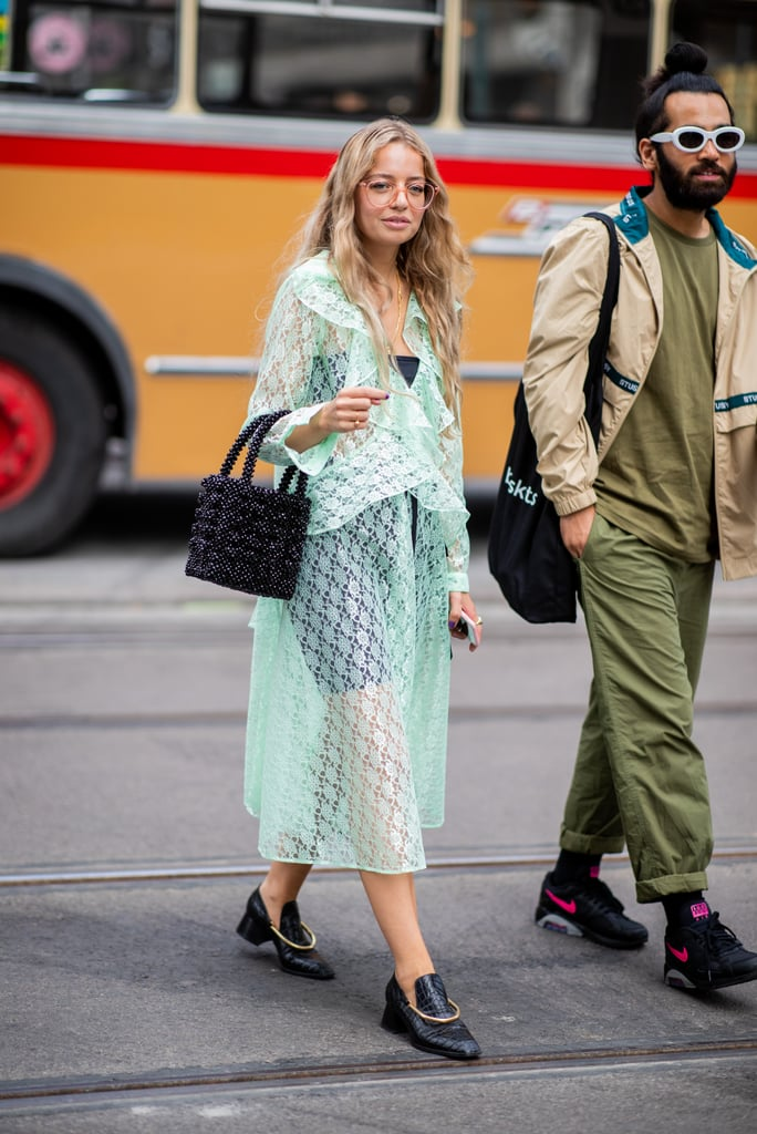 Styling a sheer mint-green dress with a bodysuit underneath.