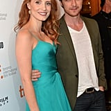 Jessica Chastain and James McAvoy posed together at the premiere of The Disappearance of Eleanor Rigby: Him and Her.