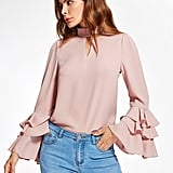 Shein Exaggerate Bell Sleeve Keyhole High Neck Top