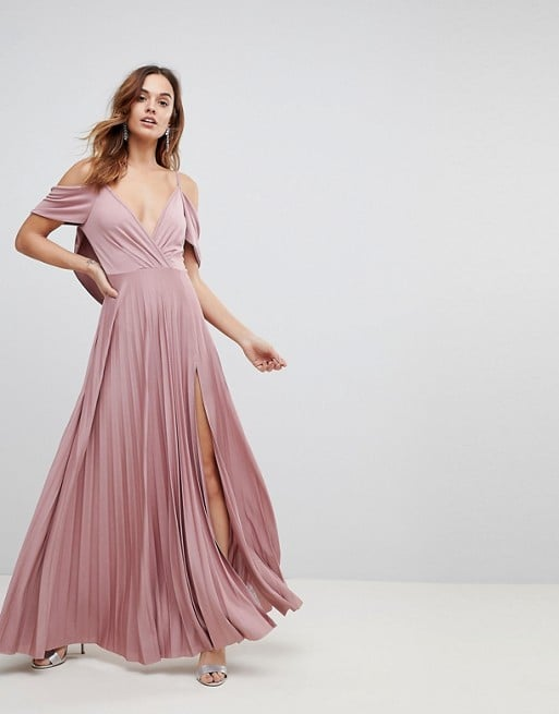 ASOS Cold Shoulder Pleated Maxi Dress