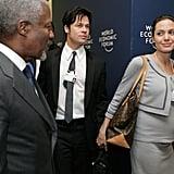 Brad Pitt und eine schwangere Angelina Jolie reisen 2006 in die Schweiz.