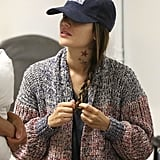 Rachel Bilson showed off a neck tattoo at LAX.