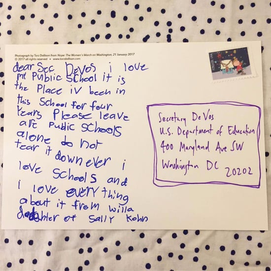 Little Girl Sends Postcard to Betsy DeVos