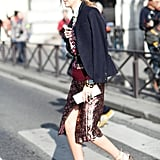 Mixed prints and metallic hues were cleverly tempered with a wool blazer. Source: Le 21ème | Adam Katz Sinding