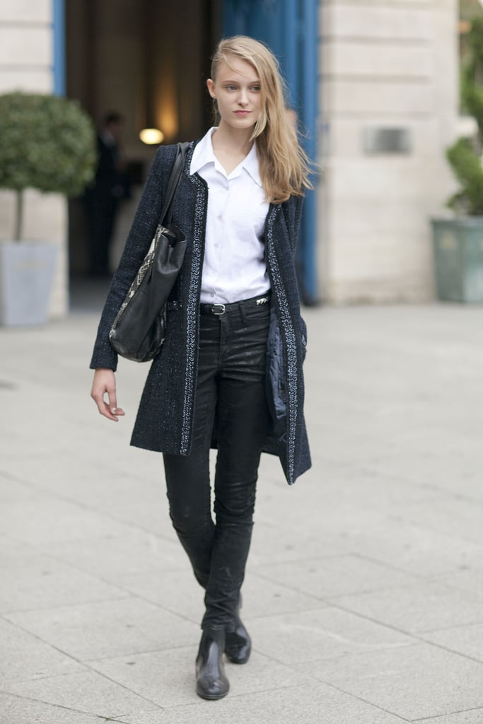 When in Paris, add a sophisticated tweed cardigan to you jeans to channel the locals' chic.