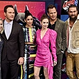 Pictured: Elizabeth Banks, Chris Pratt, Stephanie Beatriz, Alison Brie, Will Arnett, and Jason Momoa