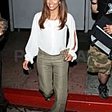 Eva Longoria grinned as she left dinner.