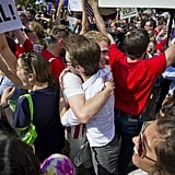 Crowds of gay rights supporters congratulated each other on two big legal victories in Washington DC.