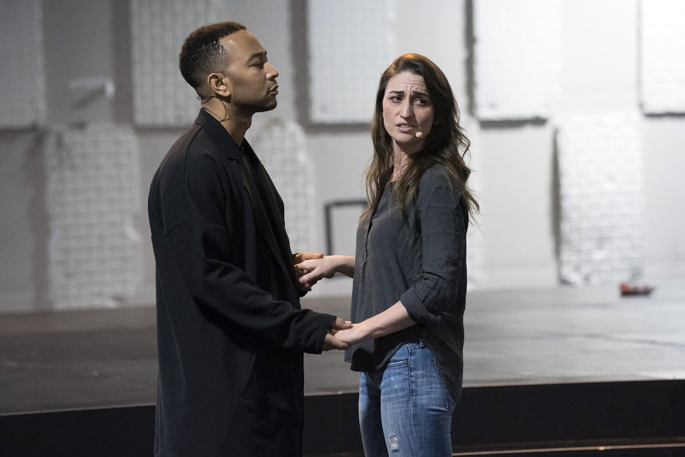 JESUS CHRIST SUPERSTAR LIVE IN CONCERT -- Rehearsals -- Pictured: (l-r) John Legend as Jesus, Sara Bareilles as Mary -- (Photo by: Virginia Sherwood/NBC)