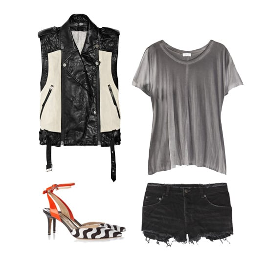 For a night out with the girls, show your tough-chic edge with a pair of black denim cutoffs and a swishy jersey tee topped with a two-toned leather vest. Add printed pumps with a hint of color for a laid-back yet totally edgy ensemble. Get the look:  Karl by Karl Lagerfeld Ossie Two-Tone Leather Biker Vest ($675) Clu Printed Jersey T-Shirt ($115) Ksubi Alberceque Cut-Off Denim Shorts ($160) Nicholas Kirkwood Patent Leather and Satin Slingbacks ($750)
