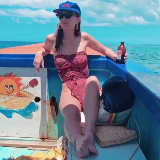 Emily Ratajkowski Red Snakeskin Swimsuit