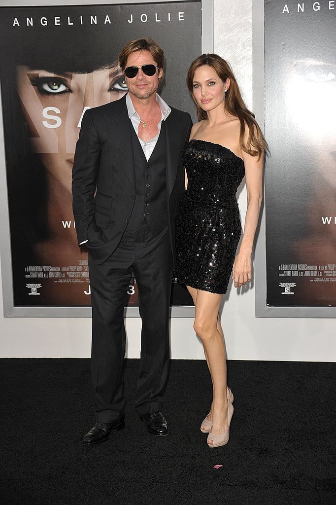 Brad, in Tom Ford, and Angelina, in Emporio Armani, at the LA Salt premiere — sexy, sophisticated — they've still got it.