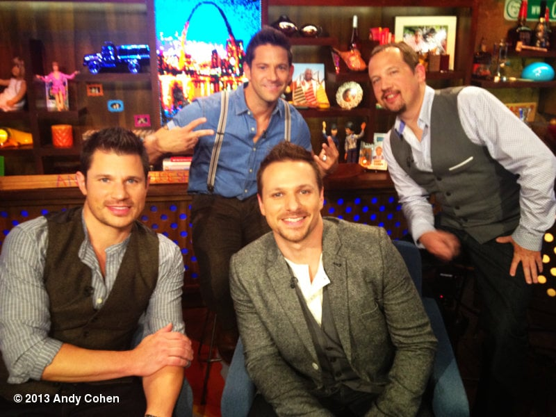Nick Lachey reunited with the boys of 98 Degrees for a visit to Watch What Happens Live. Source: Andy Cohen on WhoSay