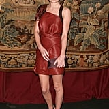 For a November 2007 gala dinner, Kate selected a one-shoulder oxblood Proenza Schouler number with black dual-strap sandals and a wine-hued envelope clutch.