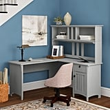 Salina L-Shape Credenza Desk with Hutch