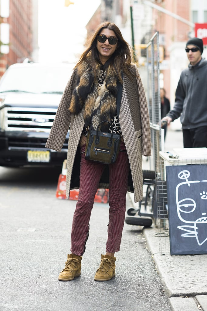 Her two-toned mini Céline coordinated perfectly with her bundled-up Fall look.  Source: Adam Katz Sinding
