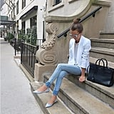 Skinny Jeans, a White Blazer, and Colourful Flats