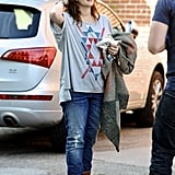 Drew Barrymore wore jeans and a tee.