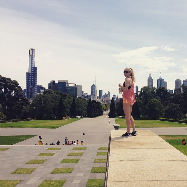 Ellie Goulding laced up her Nikes and went for a run in Melbourne, Australia.