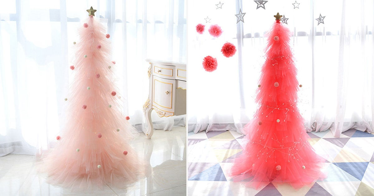 These Gorgeous Tulle Christmas Trees Come in Different Shades of Pink and Look Like Ballerina Skirts