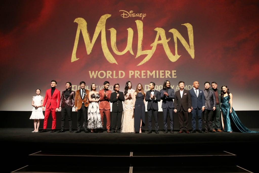 طاقم عمل مولان في العرض العالمي الأول للفيلم في لوس أنجلوس