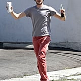 Amy Brody victoriously picked up his lunch order in West Hollywood.