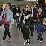 Madonna, Lourdes Leon, and Rocco Ritchie arrive at Heathrow.