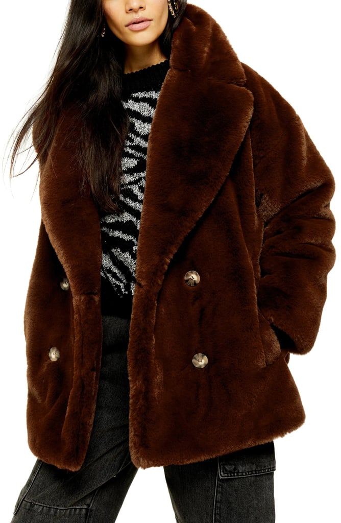 Topshop Ally Faux Fur Double Breasted Jacket