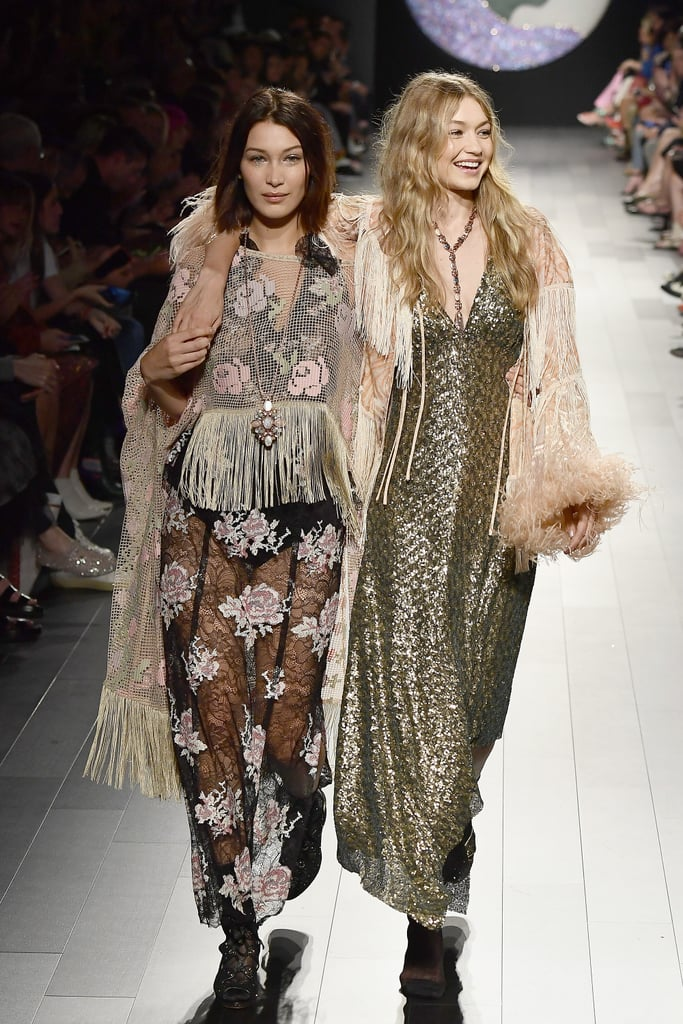 Despite a major runway mishap, Gigi and Bella Hadid proved they are true professionals. At Anna Sui's show during New York Fashion Week, Gigi waltzed down the runway in a feathery jacket, sequined dress, and one lone heel. Unfortunately, the matching peep-toe heel Gigi was supposed to wear must have gotten lost backstage. Luckily, her fellow supermodel sister was nearby.  Her first time coming down the runway, Gigi did her best to tiptoe on the foot with the missing shoe. If you didn't look too closely, you might not have even noticed. During the finale, however, Bella sweetly walked at her side. Though entirely unplanned, it was one of those moments that makes Fashion Week so memorable.       Related:                                                                                                           We'd Like a Closer Look at Gigi Hadid's Disco Ball Earrings, Please