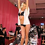 13. Candice Swanepoel couldn't contain her excitement while backstage at the fashion show.