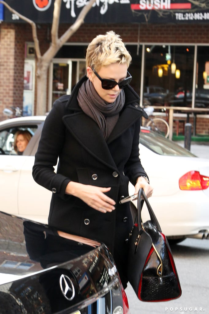 Charlize Theron rocked her short blond hair in NYC.