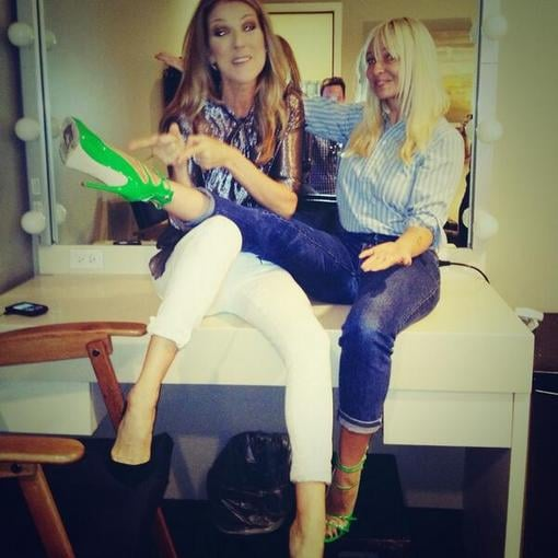 Celine Dion and Sia Furler goofed around backstage. Source: Twitter user Sia