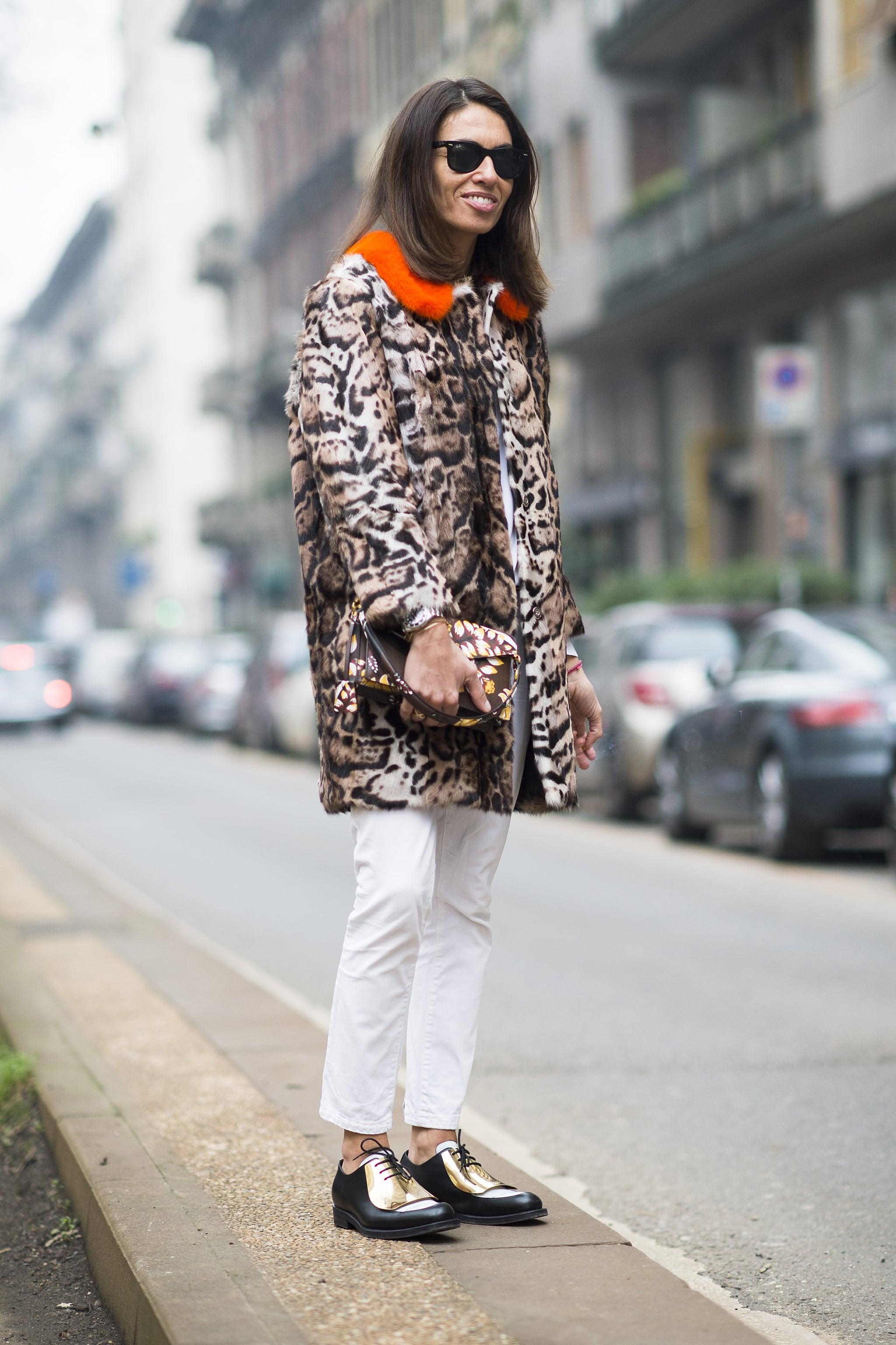 Livened up with leopard print — and some metallic kicks.  Source: Le 21ème | Adam Katz Sinding