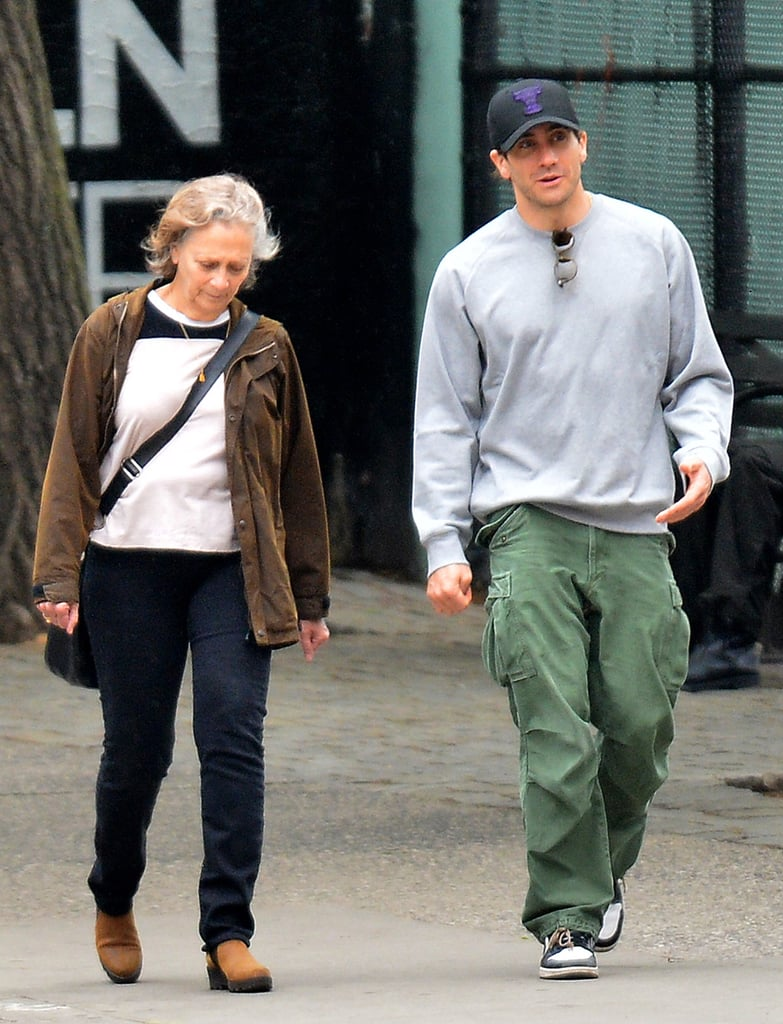 Jake Gyllenhaal looked to be in good spirits when he was seen out on a walk with his mom, Naomi Foner, in NYC on Tuesday. The pair stayed close as they crossed the street, and Jake appeared very involved in their conversation, making several hand gestures as they spoke. Most recently, it was announced that the actor would be starring in a one-night-only performance of the musical Sunday in the Park With George to raise money for the New York City Center. He will also be returning to the big screen alongside Amy Adams and Isla Fisher in Nocturnal Animals later this year. Keep reading to see more of Jake's mother-son outing, then flip through his swoon-worthy Hollywood evolution.