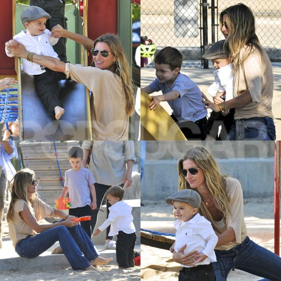 Gisele Has an Adorable Day at the Park With Ben and Jack!