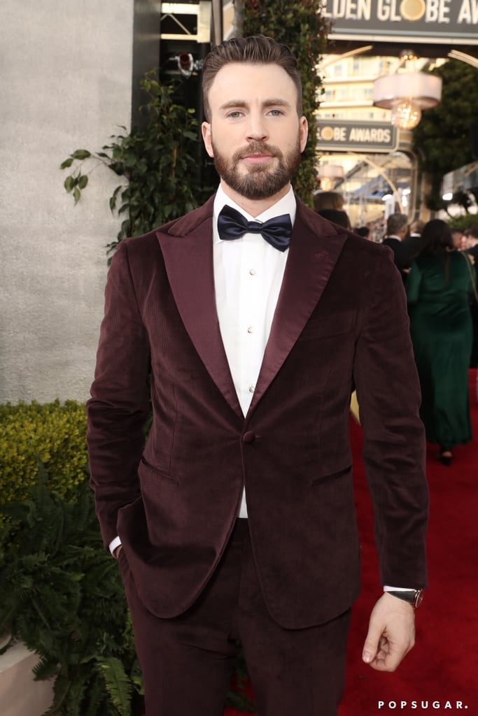 Chris Evans looked mighty fine when he attended Sunday's Golden Globe Awards. Even though the 38-year-old actor didn't entertain us by wearing his cable-knit sweater from Knives Out, he definitely made up for it with his burgundy corduroy tux. Let's just take a moment to admire him. Chris isn't nominated for anything this time around, but he'll have the honour of presenting and cheering on his pals from the audience. As for us, we'll be swooning over these photos for a while.      Related:                                                                                                           Between Chris and His Brother Scott, We're Wondering How We Can Join the Evans Family