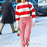 Zoey Deutch Wearing a Red-and-White Striped Sweater on Valentine's Day in NYC