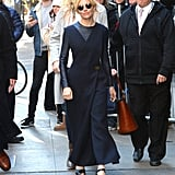 She Mixes Black, Navy Blue, and a Bit of Leather In NYC