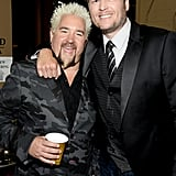 Blake Shelton buddied up with Guy Fieri backstage.