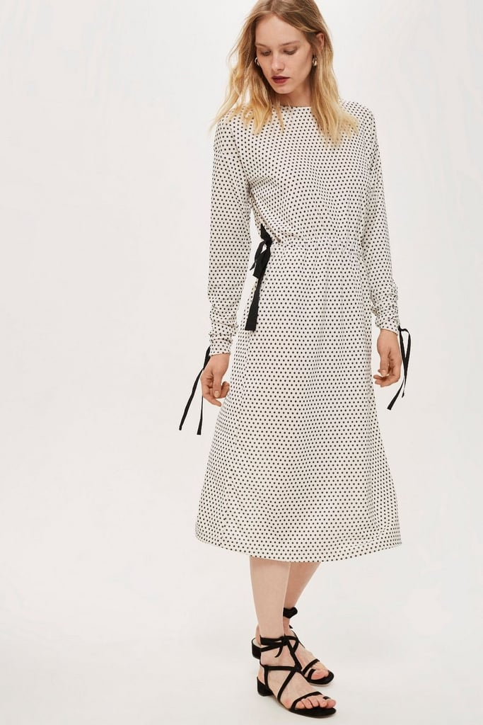 Topshop Ruched Sleeve Polka Dot Dress by Boutique