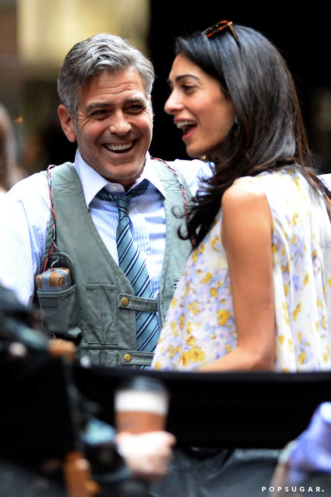 Amal Clooney paid a weekend visit to George Clooney on the NYC set of his new film Money Monster. The two were seen engaging in animated conversation, as George put his arm around Amal and grinned from ear to ear. The smitten couple also got close as they chatted, sharing sweet embraces and whispering to each other. This isn't the first time Amal has dropped by to see George on set: she was also there last weekend with George's dog, Einstein. All of this cuteness is just the latest in a series of adorable outings for the couple. They've had quite a few romantic dinner dates together in just the past couple of months alone. Keep reading to see their latest photos.