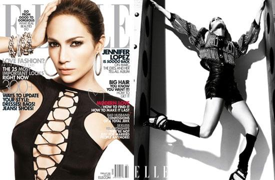 Photos of Jennifer Lopez on the cover of US Elle magazine