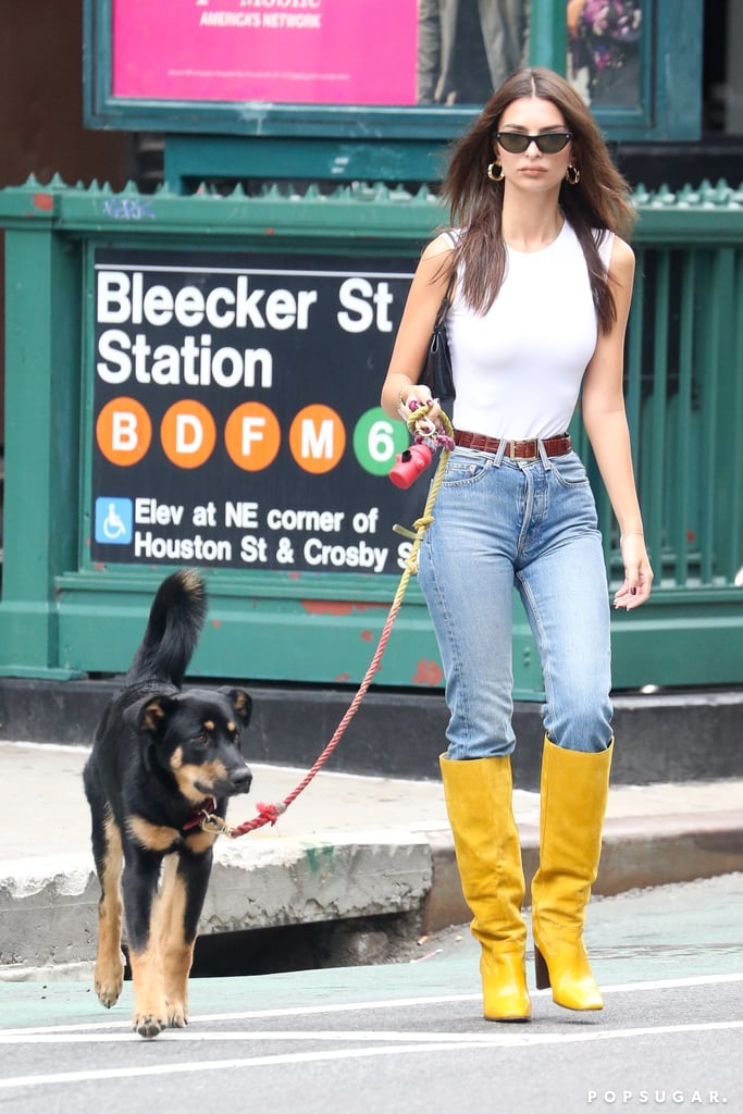 Emily Ratajkowski's Fall Knee High Boots Are Mustard Yellow
