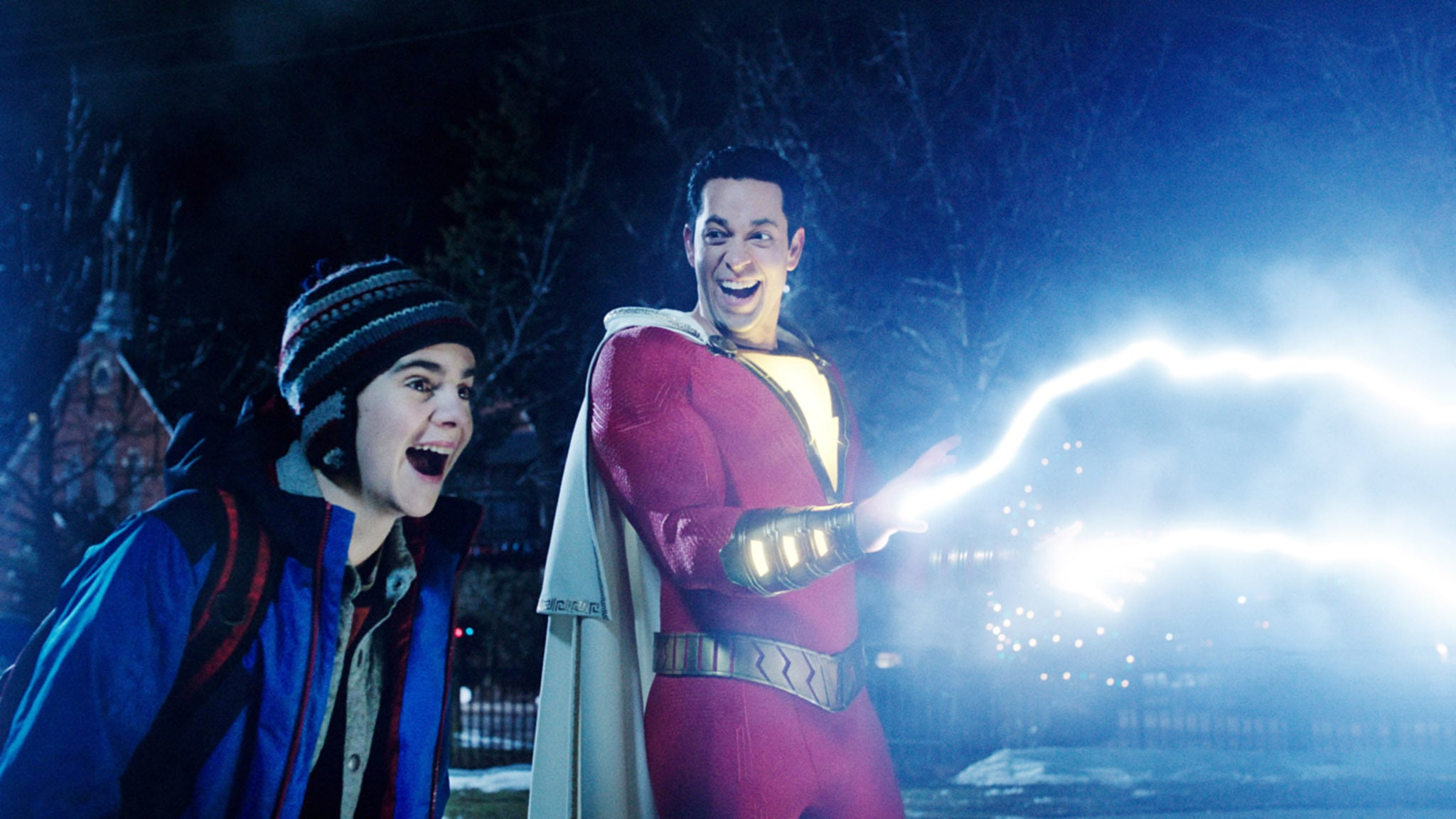 SHAZAM!, from left: Jack Dylan Grazer, Zachary Levi (as Shazam), 2019.  Warner Brothers / courtesy Everett Collection